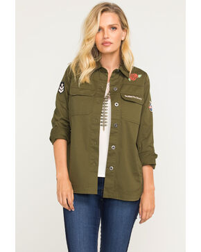 Idyllwind Women's Military Top, Olive, hi-res