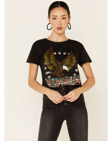 Country Deep Women's Black Acid Washed Desperado Graphic Tee , Black, hi-res