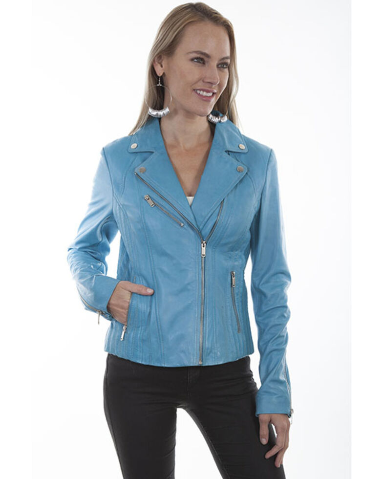 Leatherwear by Scully Women's Butterscotch Suede Motorcycle Jacket, Light Blue, hi-res