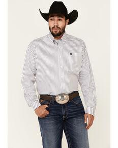 Cinch Men's White Tencel Stripe Long Sleeve Western Shirt , White, hi-res