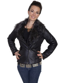 Scully Women's Faux Fur Studded Moto Jacket, Black, hi-res