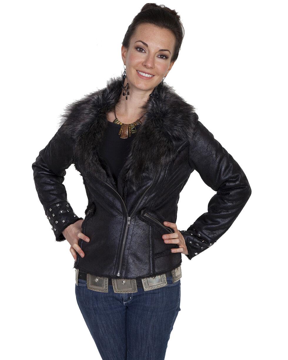 Scully Women's Faux Fur Studded Moto Jacket, Black, hi-res