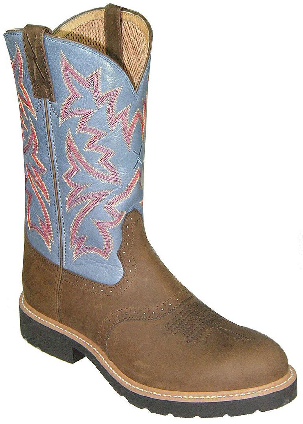 Twisted X Men's Saddle Vamp Pull-On Work Boots - Steel Toe, Saddle Brown, hi-res