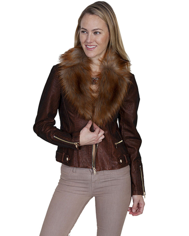 Honey Creek by Scully Women's Faux Fur Copper Jacket, Rust Copper, hi-res