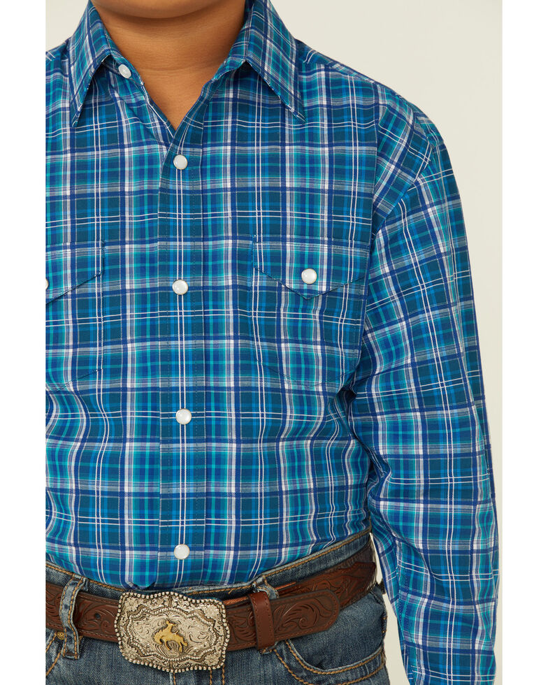 Rough Stock By Panhandle Boys' Teal Dobby Plaid Long Sleeve Snap Western Shirt , Blue, hi-res