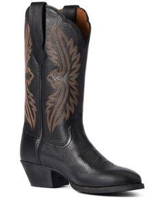 Ariat Women's Black Deertan Heritage R Toe Stretch Fit Full-Grain Western Boot - Round Toe, Black, hi-res