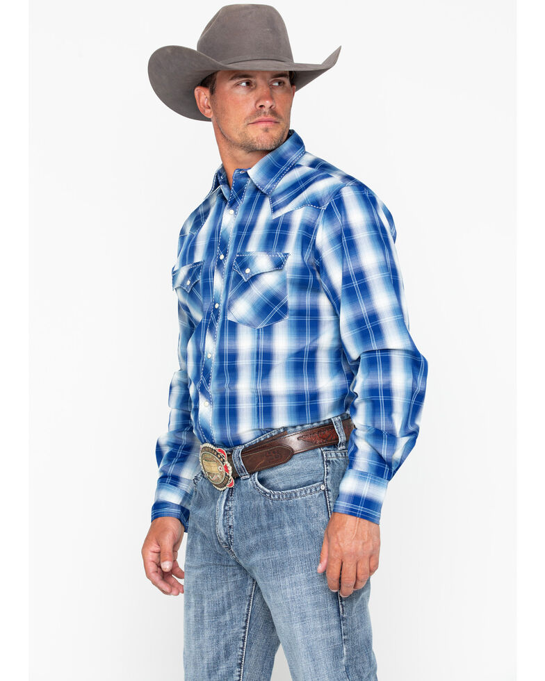 b3603860 Zoomed Image Wrangler Men's Fashion Snap Plaid Long Sleeve Western Shirt,  Blue/white, hi-