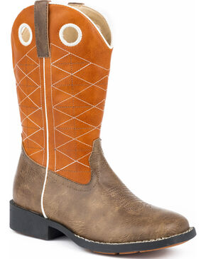Roper Youth Boys' Boone Criss Cross Embroidered Cowboy Boots - Square Toe, Brown, hi-res