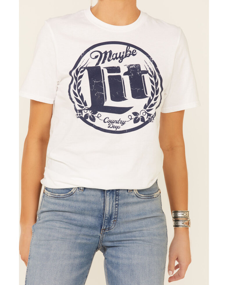 Country Deep Women's Maybe Lit Circle Graphic Short Sleeve Tee , White, hi-res