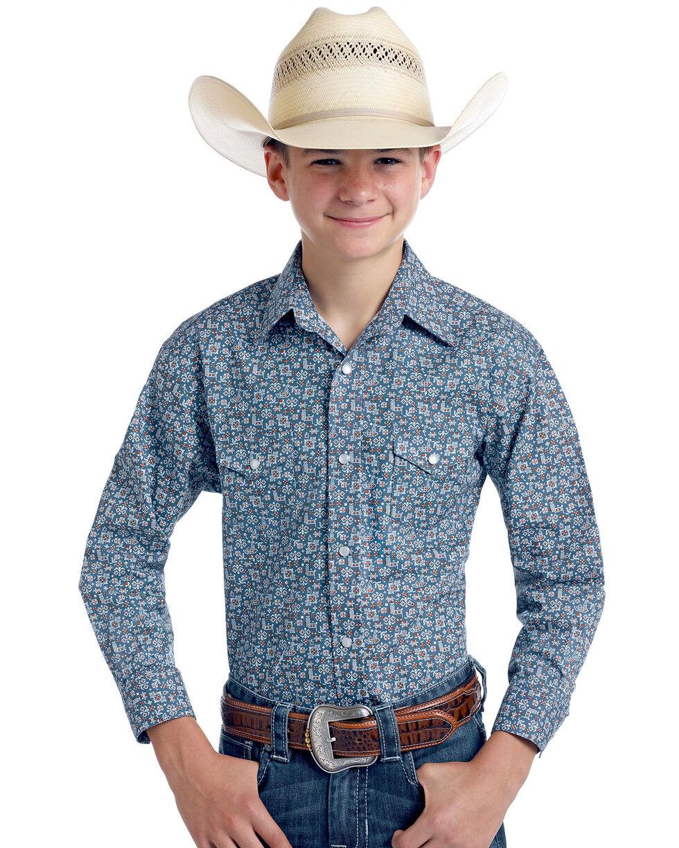 Rough Stock By Panhandle Boys' Praha Vintage Print Long Sleeve Western Shirt , Navy, hi-res