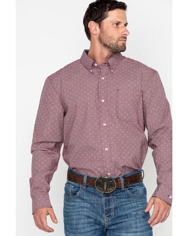 Cody James Core Men's North Star Geo Print Long Sleeve Western Shirt - Big, Maroon, hi-res