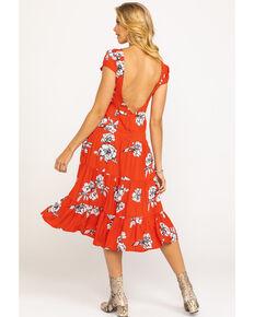 Free People Women's Rita Tiered Midi Dress, Red, hi-res