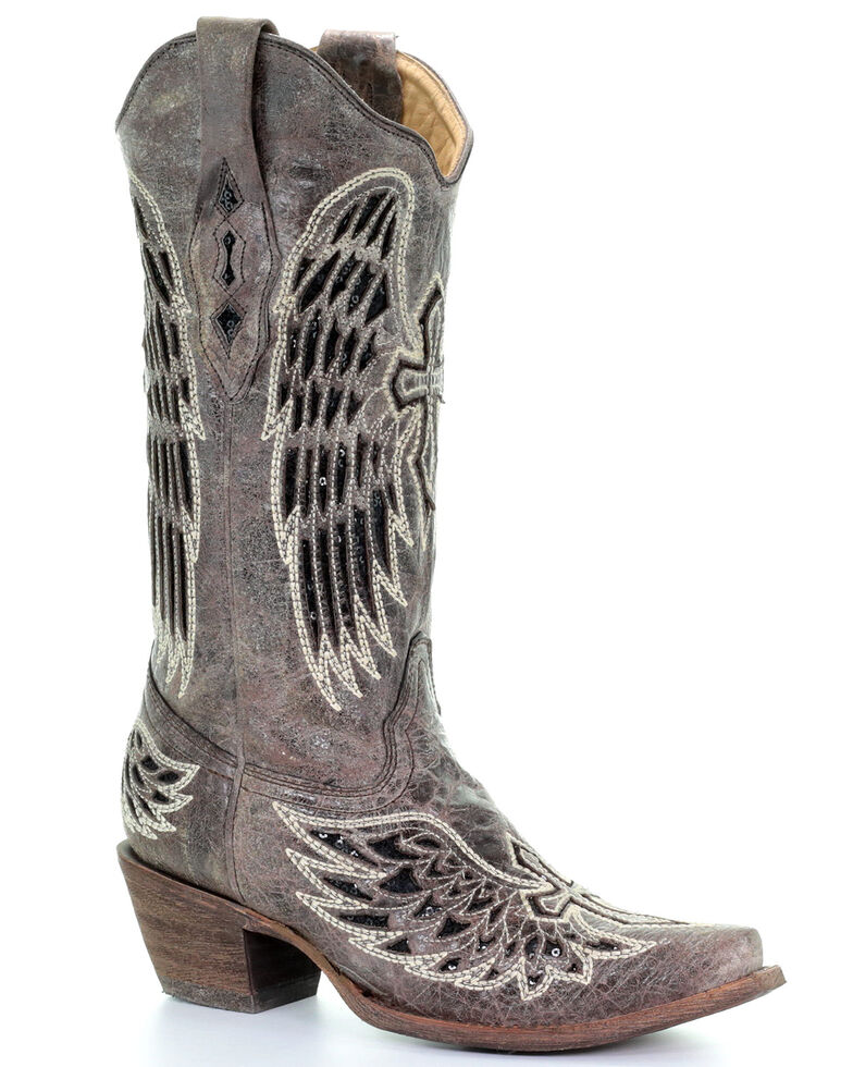 Corral Distressed Black Sequin Cross &Amp; Wing Inlay Cowgirl Boots   Snip Toe by Corral