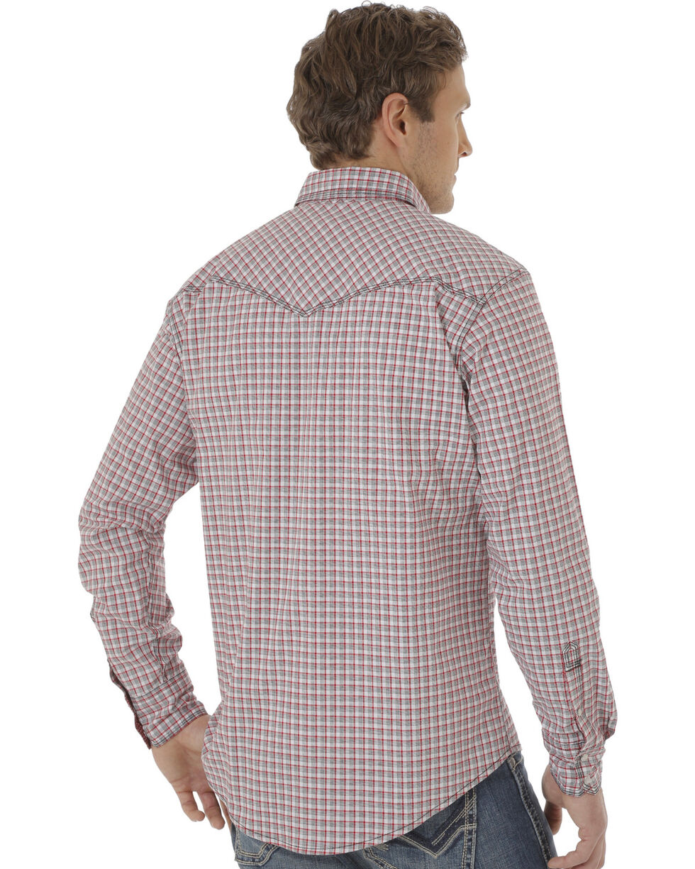 Wrangler Men's White, Red and Black Plaid 20X Western Shirt, Red, hi-res
