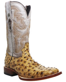 Mark Tanner Men's Ostrich Rustic Print Western Boots - Square Toe, Tan, hi-res