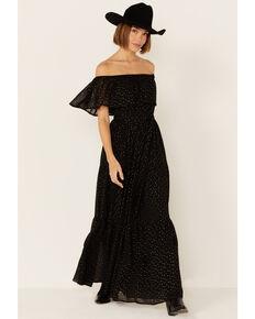 Flying Tomato Women's Black Lurex Off-the-Shoulder Maxi Dress, Black, hi-res