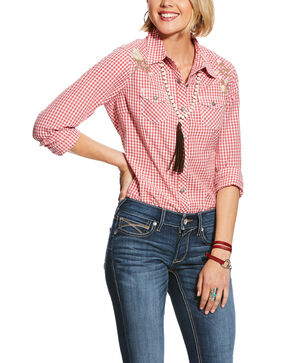 Ariat Women's R.E.A.L Embroidered Check Plaid Long Sleeve Western Shirt - Plus, Coral, hi-res