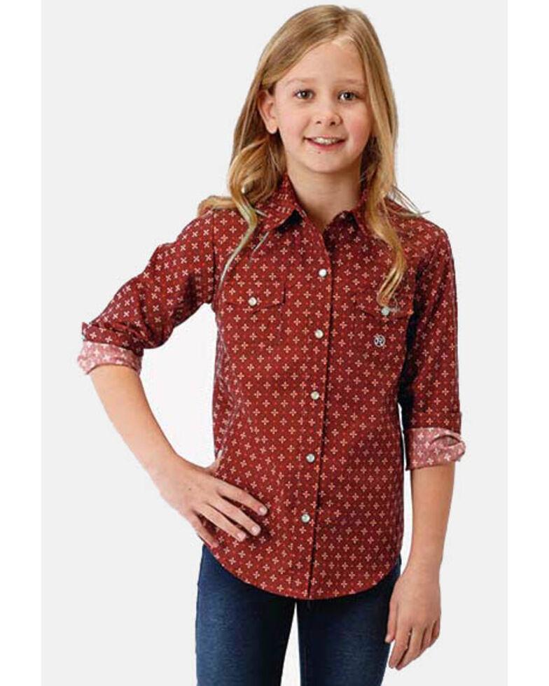 Amarillo Girls' Geo Print Long Sleeve Western Shirt, Red, hi-res