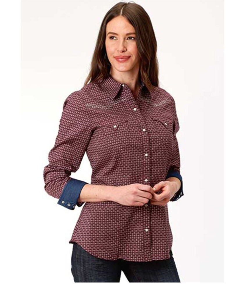 West Made Women's That Way Print Long Sleeve Western Shirt, Red, hi-res