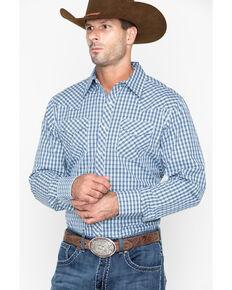 Stetson Men's Original Rugged Check Plaid Long Sleeve Western Shirt , Blue, hi-res