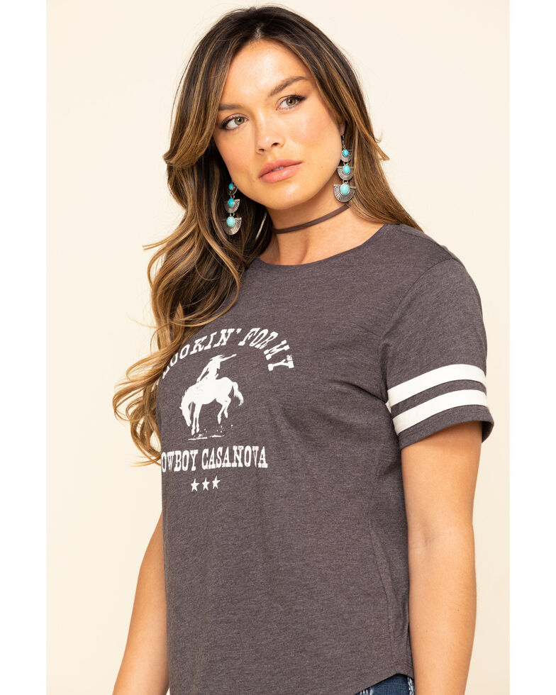 Cut & Paste Women's Cowboy Casanova Football Tee, Black, hi-res