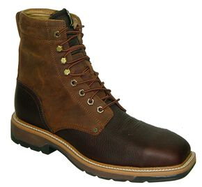"Twisted X Lite 8"" Lace-Up Waterproof Work Boots - Steel Toe, Oiled Rust, hi-res"