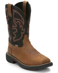 Justin Men's Stampede Rush Western Work Boots - Composite Toe, Brown, hi-res