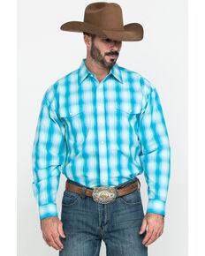 Panhandle Select Men's Blue Yarn Dye Plaid Long Sleeve Western Shirt , Light Blue, hi-res