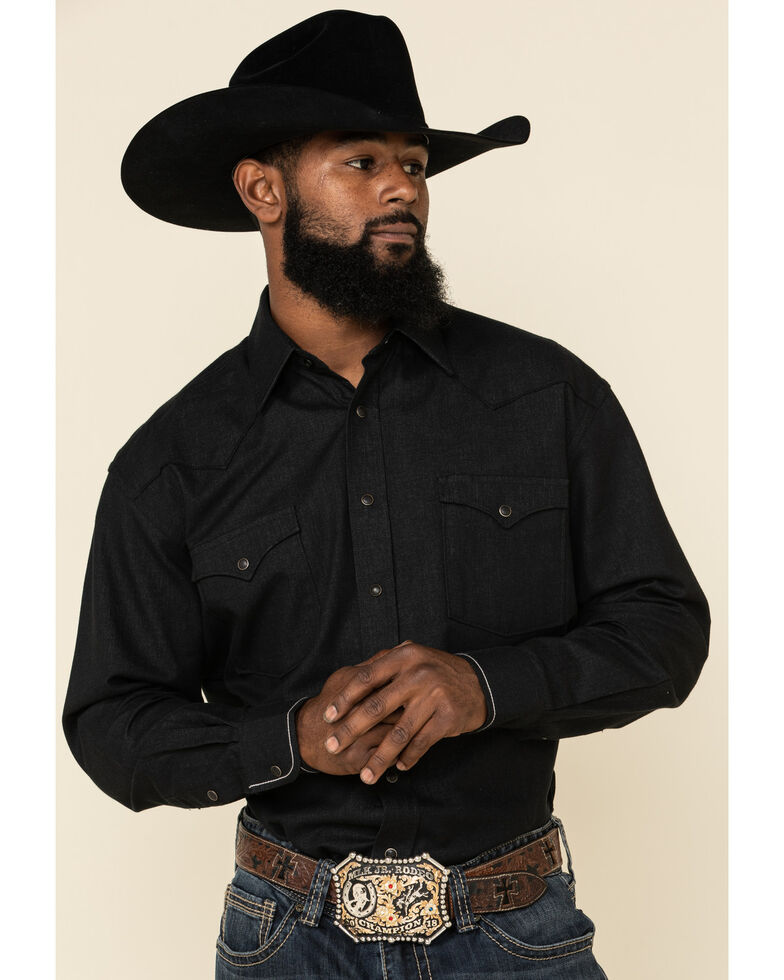 Rough Stock By Panhandle Men's Micro Honeycomb Solid Long Sleeve Western Shirt, Black, hi-res