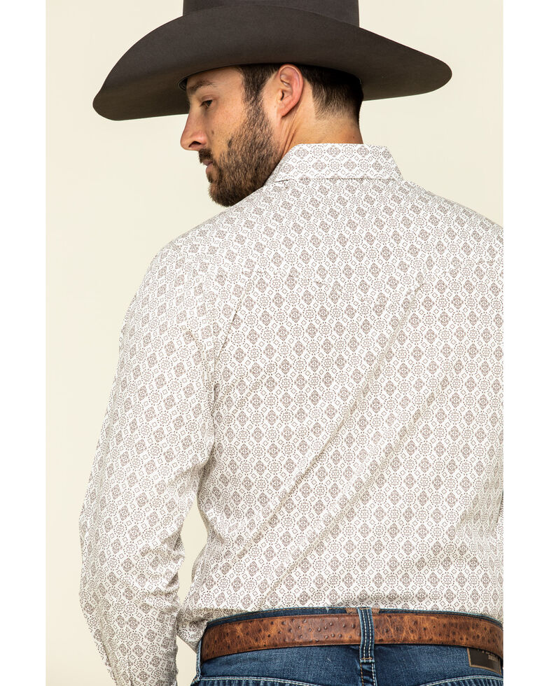 Ely Cattleman Men's Multi Small Geo Print Long Sleeve Western Shirt - Tall , Beige/khaki, hi-res
