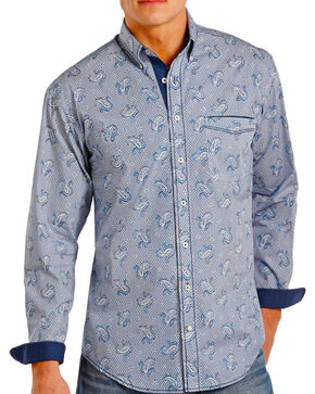 Rough Stock by Panhandle Men's Paisley Contrast Long Sleeve Shirt, Navy, hi-res