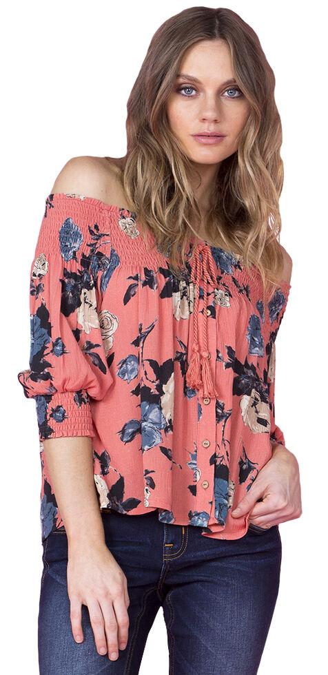 Miss Me Women's Coral Off-the-Shoulder Floral Top, Coral, hi-res