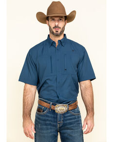 Ariat Men's Blue Solid VentTEK Short Sleeve Western Shirt , Blue, hi-res