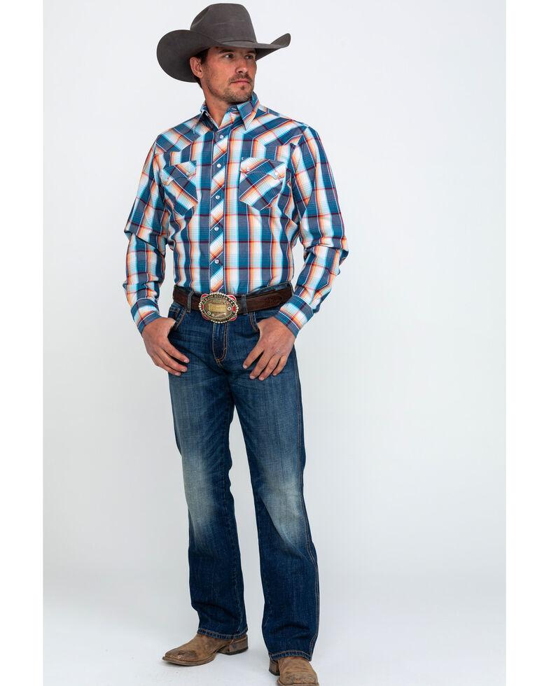 Roper Men's Multi Large Plaid Long Sleeve Western Shirt , Blue, hi-res