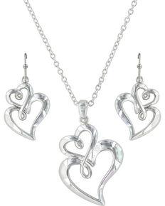Montana Silversmiths Women's Infinite Love Heart Jewelry Set , Silver, hi-res
