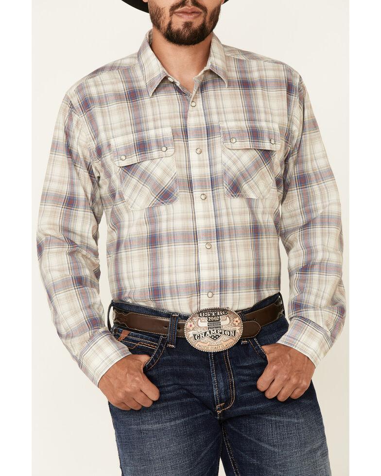 Ariat Men's Dunscape Atherton Retro Plaid Long Sleeve Snap Western Shirt , Tan, hi-res