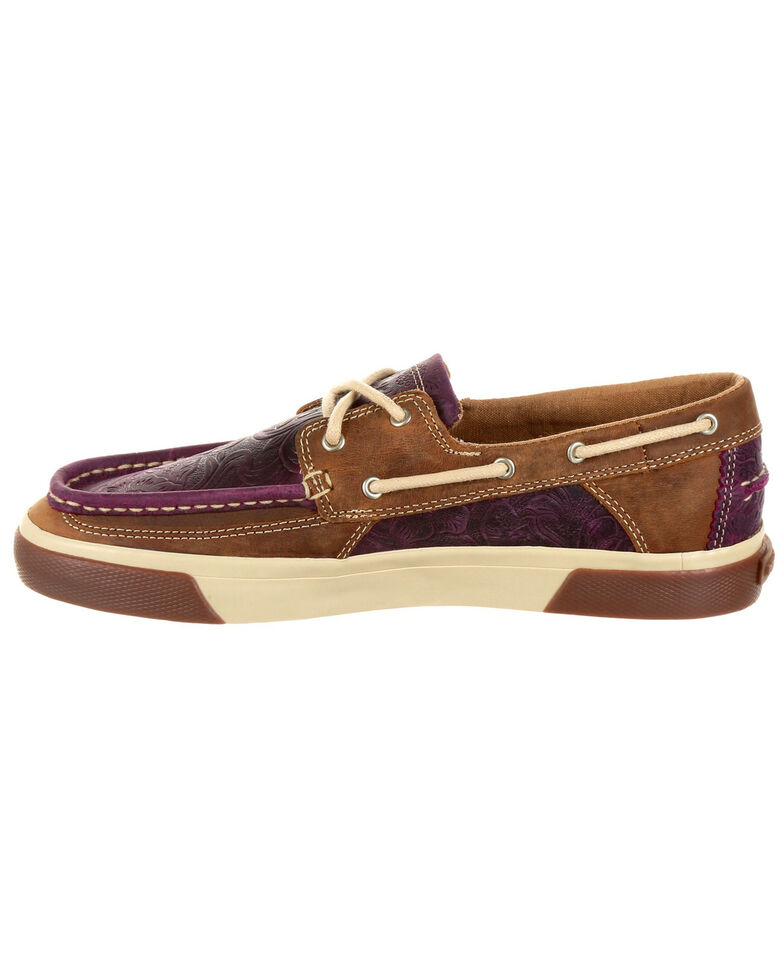 Durango Women's Music City Plum Boat Shoes - Moc Toe, Purple, hi-res