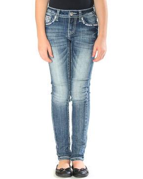 Grace in LA Girls' Tribal Embroidered Pocket Jeans - Skinny , Indigo, hi-res