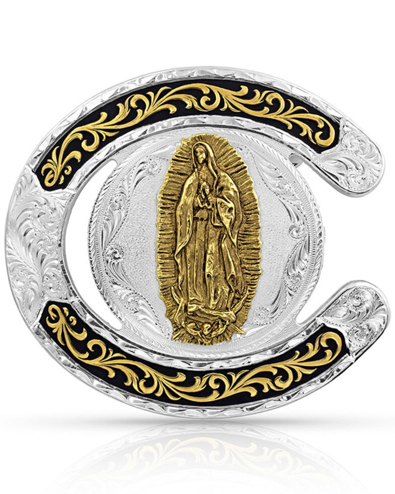 Montana Silversmiths Men's Two Tone Horseshoe Our Lady Of Guadalupe Buckle, Silver, hi-res