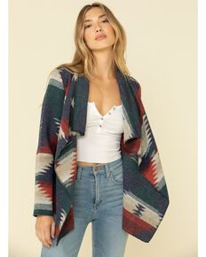 Cripple Creek Women's Blue Aztec Navajo Printed Blanket Cardigan, Blue, hi-res
