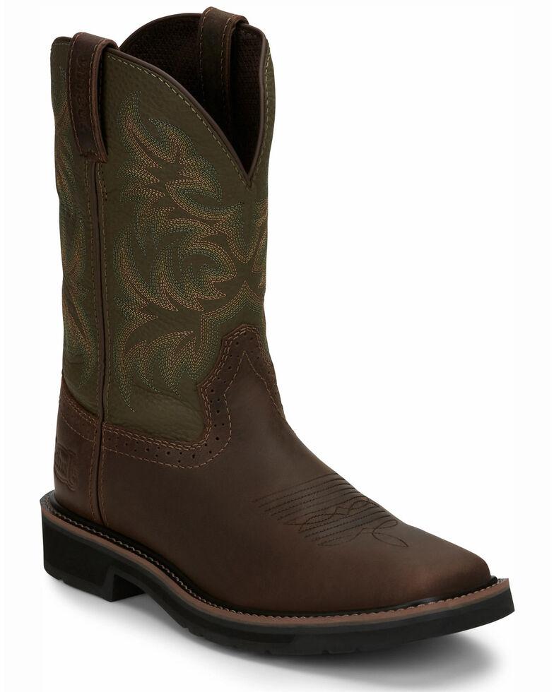 Justin Men's Driller Western Work Boots - Soft Toe, Dark Brown, hi-res