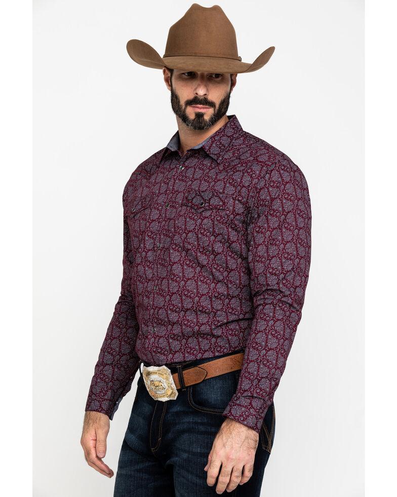 Cody James Men's Gunslinger Paisley Print Long Sleeve Western Shirt , Maroon, hi-res