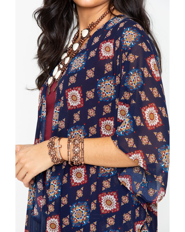 Cowgirl Up Women's Printed Fringe Trim Kimono, Navy, hi-res