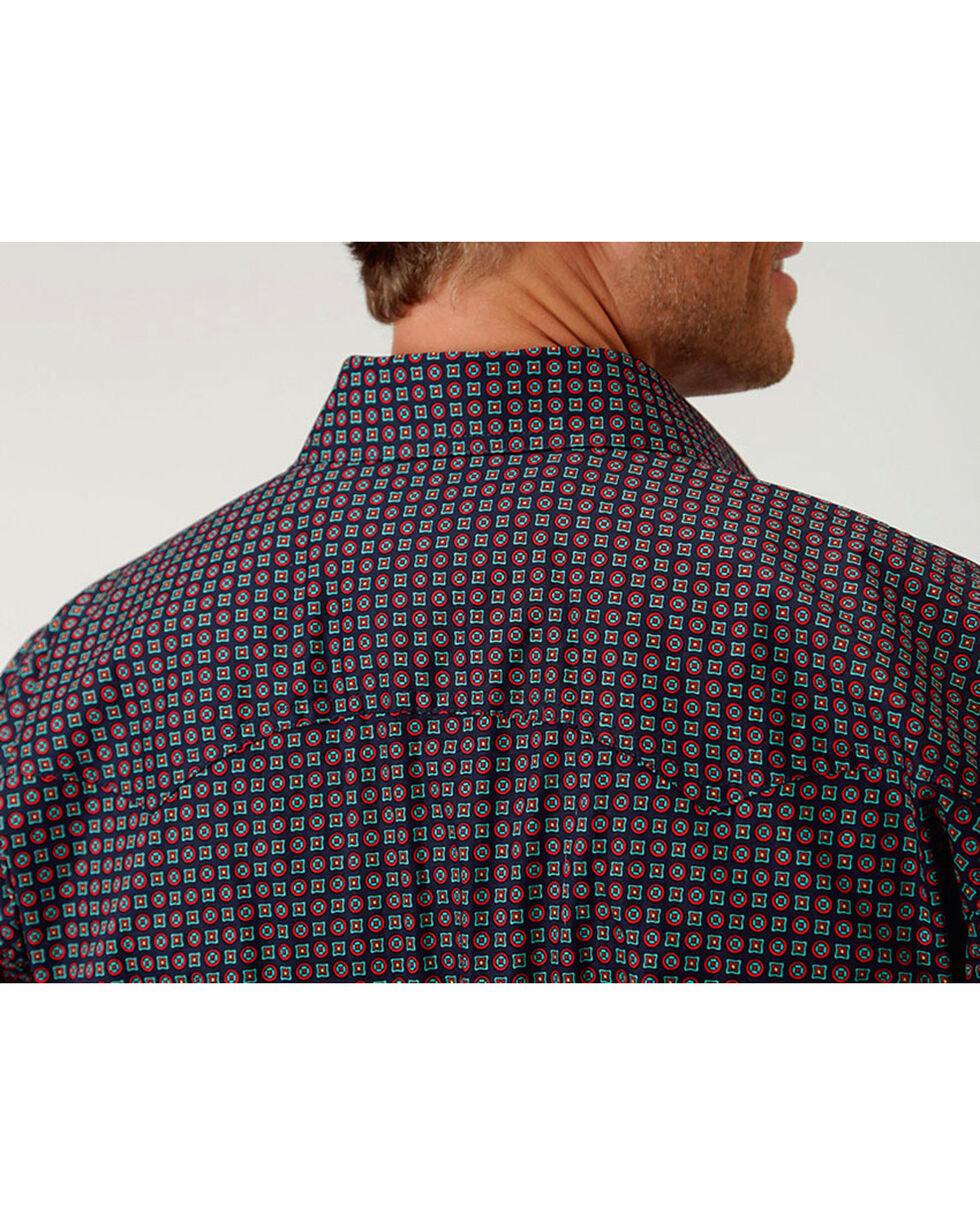 Roper Men's Amarillo Collection Red Coral Geo Print Long Sleeve Snap Shirt, Navy, hi-res