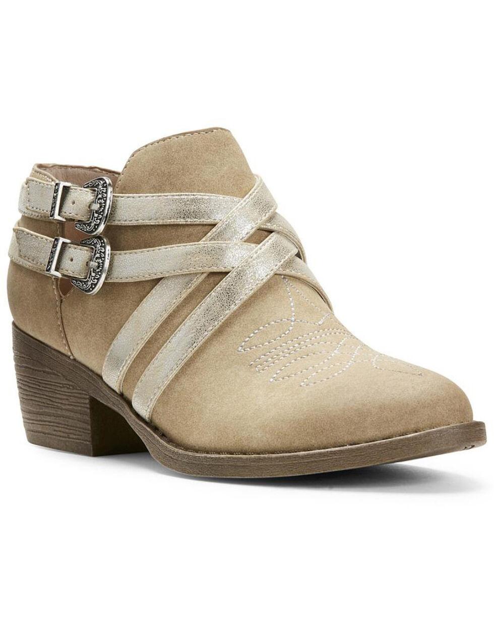 Ariat Women's Unbridled Sadie Harness Western Booties - Round Toe, Tan, hi-res
