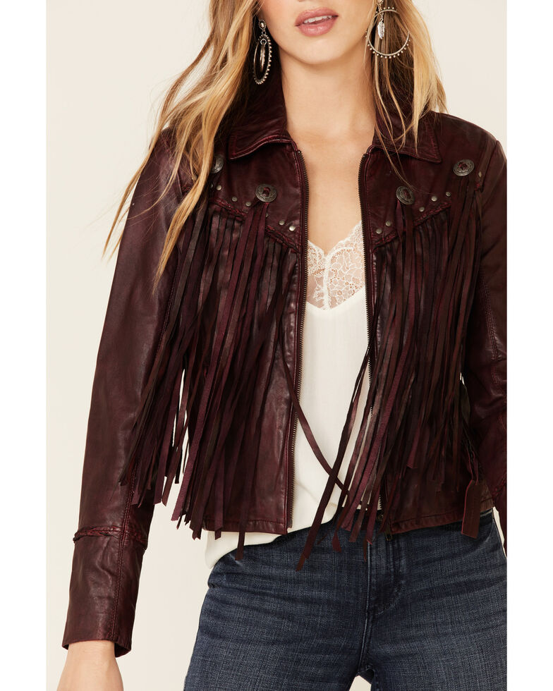Idyllwind Women's Burgundy Headline Concho Leather Jacket , Burgundy, hi-res