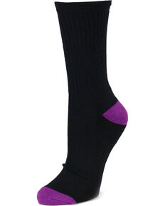 Shyanne Women's 3 Pack Crew Socks, Black, hi-res