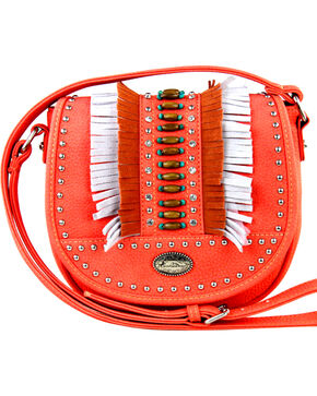 Montana West Women's Indian Bead Fringe Messenger Bag , Coral, hi-res