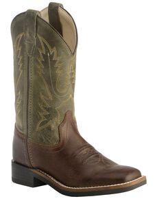 af2f5399f Old West Children's Stiched Olive Cowboy Boots - Square Toe