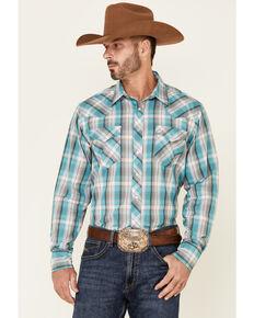 Roper Men's Juniper Dobby Large Plaid Long Sleeve Snap Western Shirt , Blue, hi-res